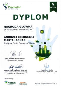 """Dyplom """"Promotorzy czystej energii"""" w kategorii Osobowość"""